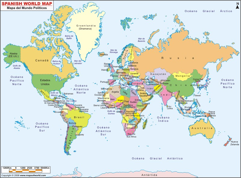 Maps In Spanish Map Of The World In Spanish Maps In Spanish